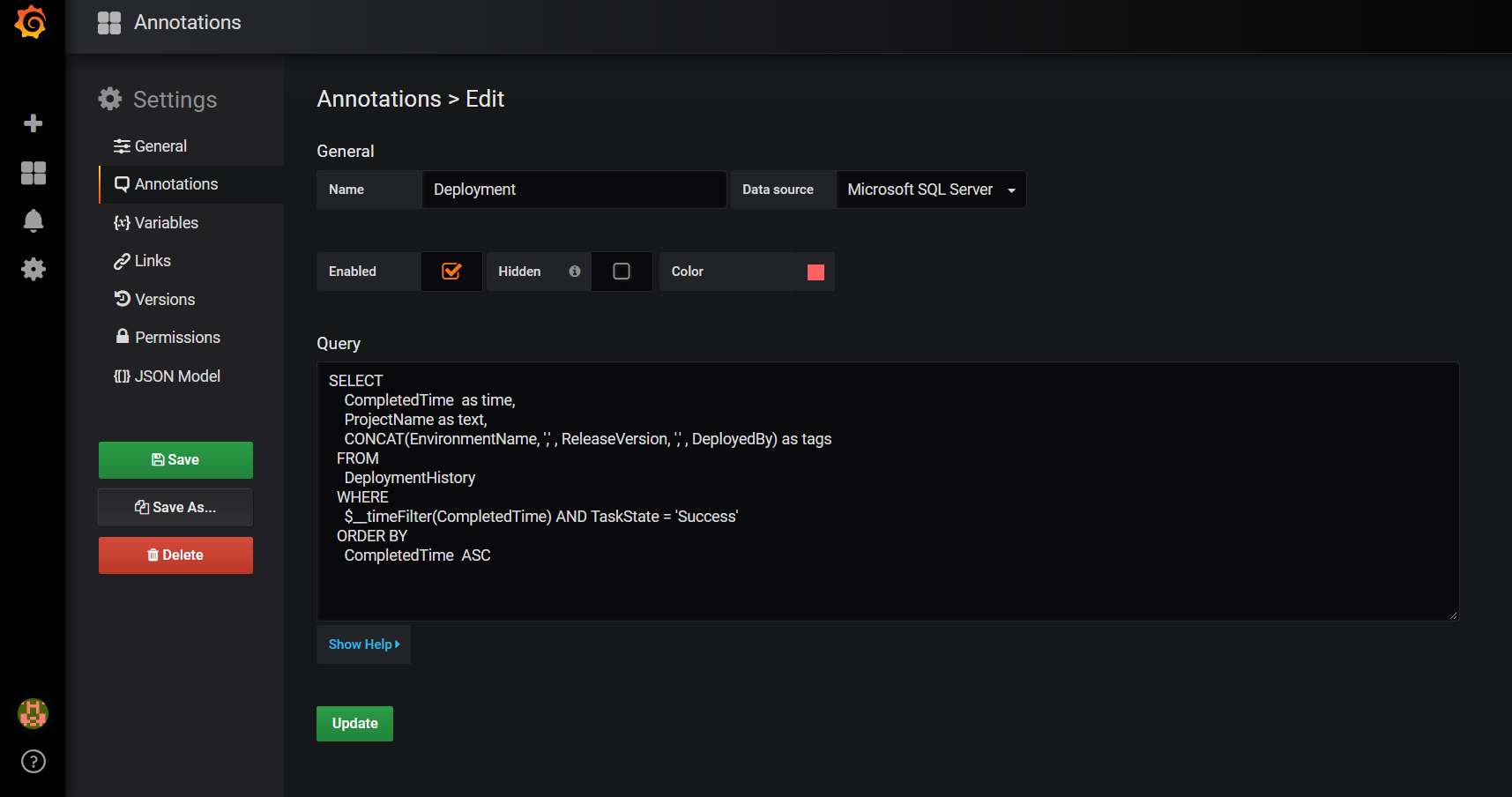 How to display Octopus Deploy deployment history on Grafana